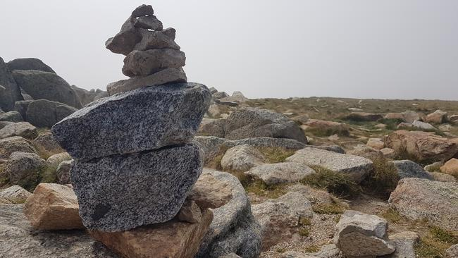 A cloud blew in over the summit of Mt Kosciuszko, luckily there was no rain. Picture: Kirrily Schwarz