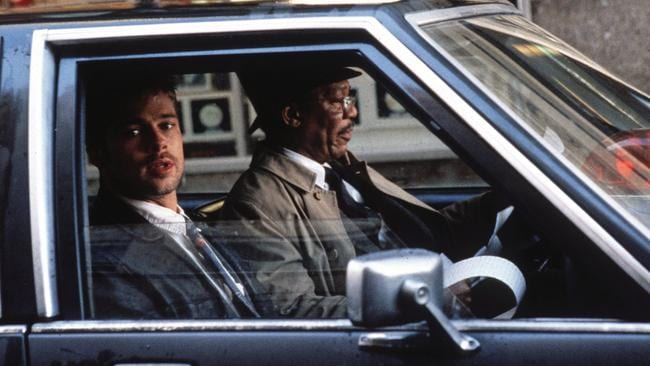 Brad Pitt and Morgan Freeman in Se7en.