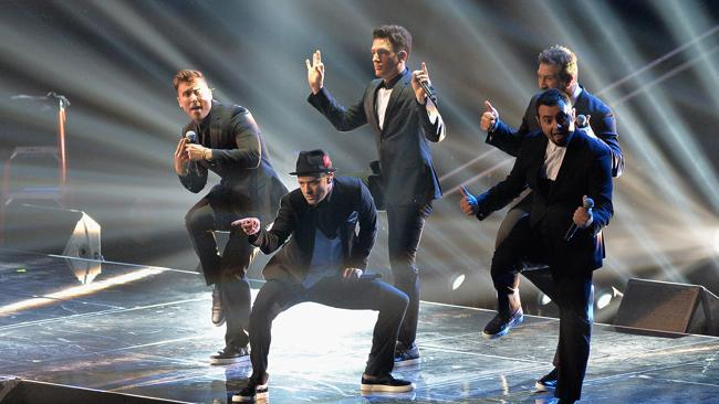 Justin Timberlake reunited on stage with Chris Kirkpatrick, Joey Fatone, JC Chasez and Lance Bass from 'N Sync. Picture: Rick Diamond/Getty Images for MTV