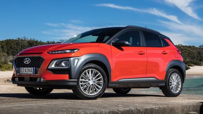 The Hyundai Kona Elite, pictured, gains 17-inch alloy wheels, leather seats and sensor key with push button start. Picture: Supplied.