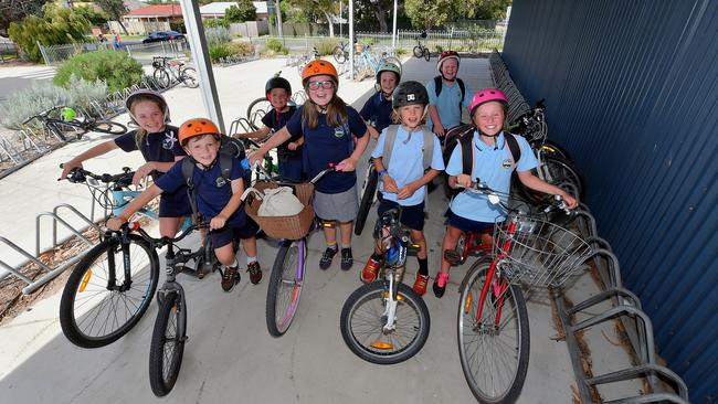 It's important to teach healthy fitness habits, like riding to school. Picture: Jay Town