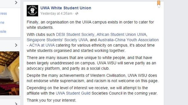 A post on the UWA White Student Union Facebook page.