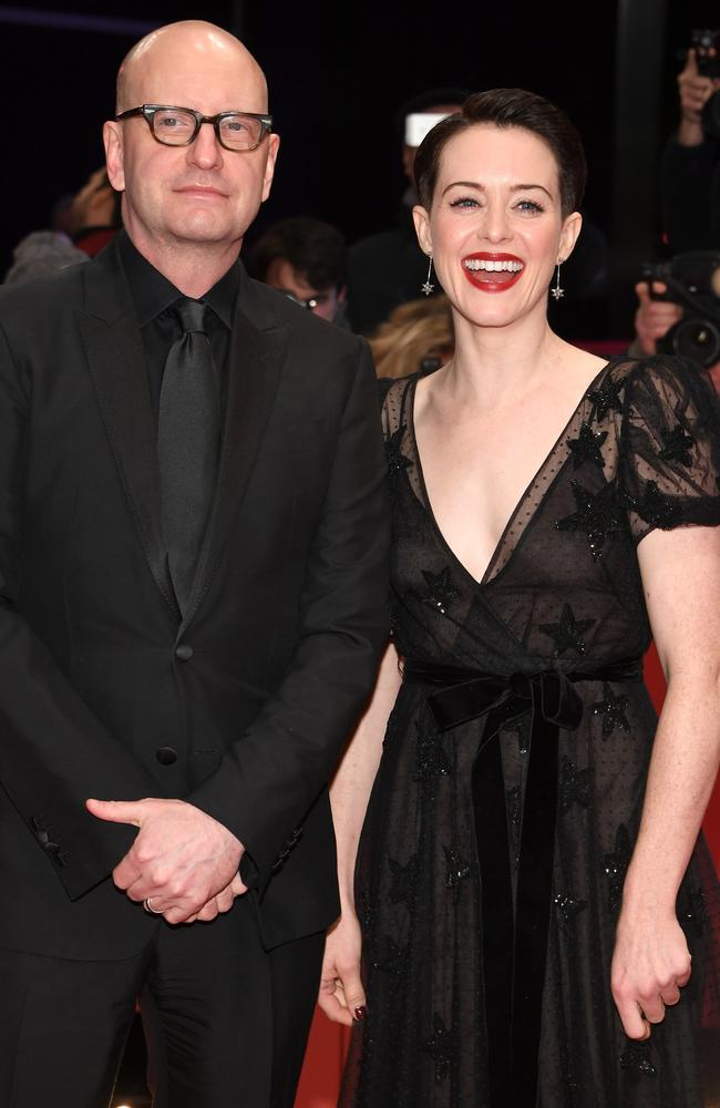 Steven Soderbergh and Claire Foy during the 68th Berlinale International Film Festival at which she was not wearing her wedding ring. Picture: Getty Images