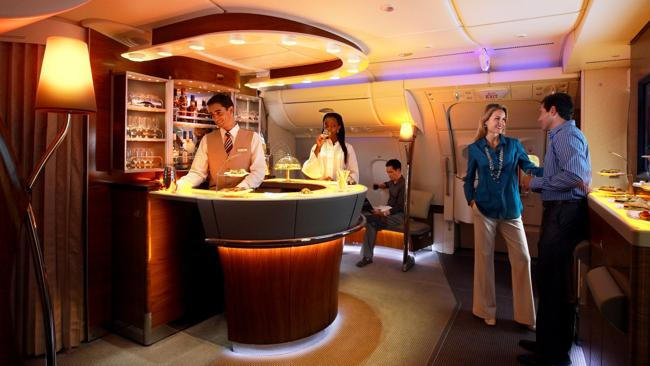 A bar in the first and business class lounge on board an Emirates A380 plane. Picture: Emirates