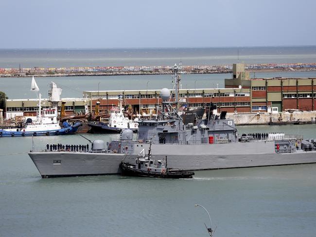 Comandante Espora Argentine ship sails off the navel base in Mar del Plata, Argentina. Picture: AP