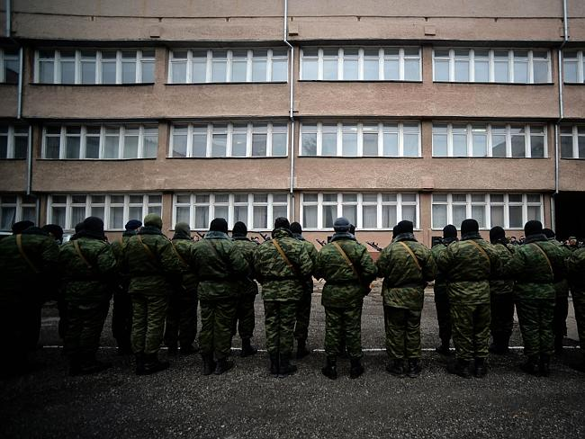 """New guard ... Pro-Russian forces dubbed the """"military forces of the autonomous republic o"""