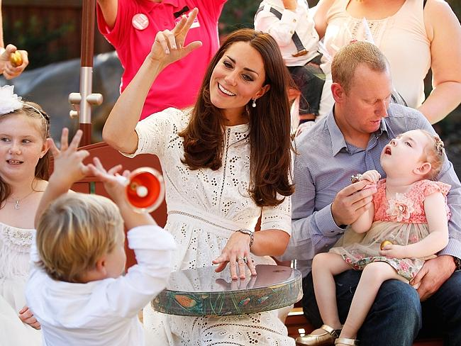 Catherine showed great empathy at Bear Cottage where she sang with children. Picture: Brendon Thorne/Getty