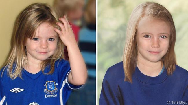 Image released by the Metropolitan Police shows composite photos of four-year-old missing child Madeleine McCann and an age progression computer generated image of her at nine.