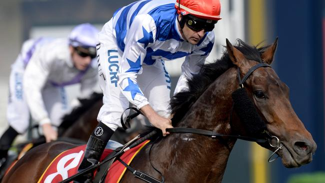 Jockey Dwaye Dunn on Harlem wins race 7, the Bendigo Bank East Malvern MRC Foundation Cup on MRC Foundation Race Day 2017 at Caulfield Racecourse in Melbourne, Saturday, September 23, 2017. (AAP Image/Mal Fairclough) NO ARCHIVING, EDITORIAL USE ONLY
