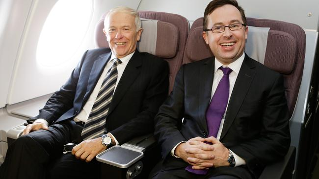 Reason to smile ... Qantas CEO Alan Joyce and Emirates president Tim Clark both head up airlines rated seven out of seven for safety. Pic: Brendon Thorne/Bloomberg