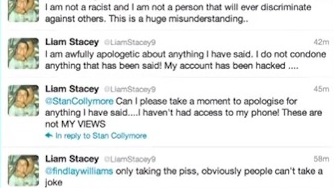A sample from Liam Stacey's Twitter feed. Picture: Twitter