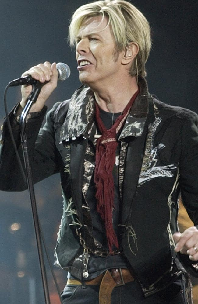 Legendary performer ... David Bowie, pictured on stage in 2003, has broken chart records after his death. Picture: AP