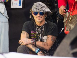 Johnny Depp on day 3 of Glastonbury Festival 2017, June 24 2017. Photo: Photo: Harry Durrant/Getty Images.