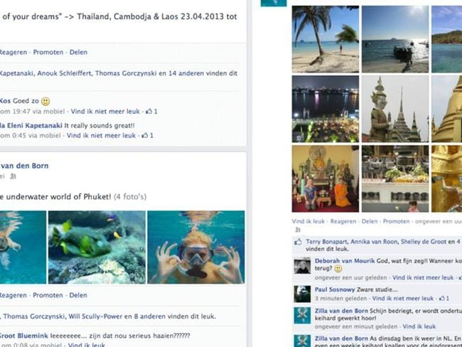 Her status updates were geotagged with Thailand as the location. Picture: Zilla van den Born/Rex Features