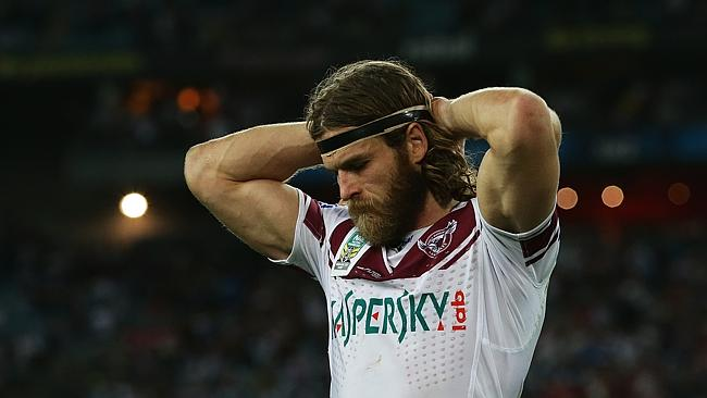 Manly's David Williams after Manly's loss in the Sydney Roosters v Manly Sea Eagles NRL Grand Final at ANZ Stadium, Sydney. Pic Brett Costello