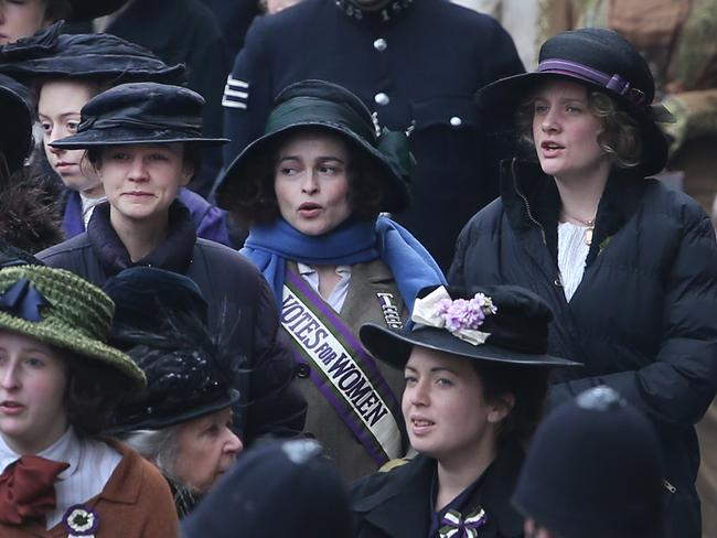 Garai (at right) with co-stars Carey Mulligan and Helena Bonham Carter on the set of Suffragette. Picture: Peter Macdiarmid/Getty Images