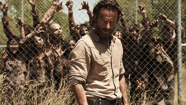 Rick Grimes (Andrew Lincoln) in The Walking Dead. Zombie hordes are no match for a swarm of blowflies, according to a US naturist.