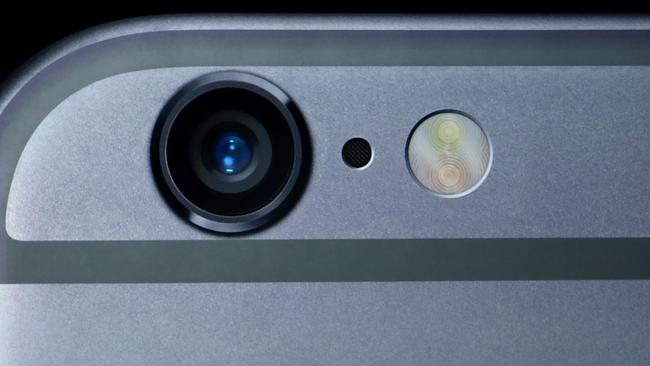 Pop out ... the lens of the camera protrudes out of the back of the iPhone 6 and 6 Plus. Justin Sullivan/Getty Images/AFP
