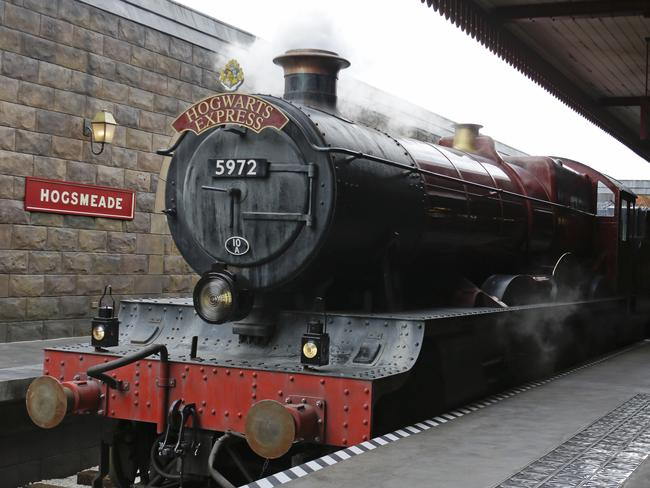 The Hogwarts Express arrives at Hogsmeade station.