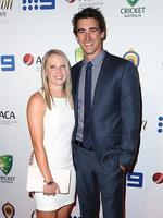 Alyssa Healy and Mitchell Starc on the red carpet arriving at the 2014 Allan Border Medal held at Doltone House at Hyde Park. Picture: Richard Dobson