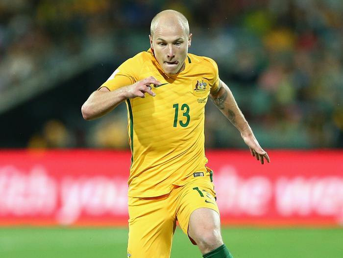 Socceroos midfielder Aaron Mooy in action against Tajikistan earlier this year.