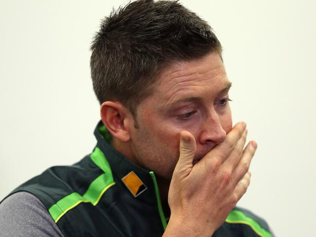 A distraught Michael Clarke.