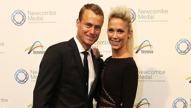 Lleyton and Bec Hewitt at the Newcombe Medal.