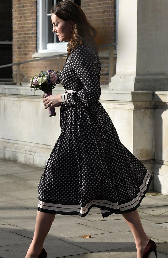 Catherine, the Duchess of Cambridge, spoke about the latest royal engagement when visiting a London museum. Picture: AFP.
