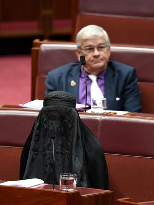 One Nation Senator Pauline Hanson has defended her decision to wear the burqa to expose security risks. Picture: AAP