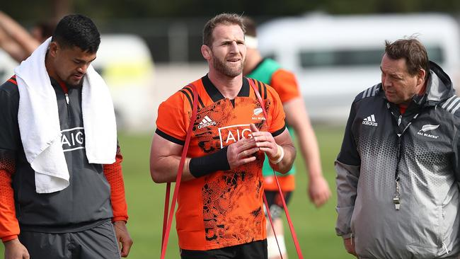 Kieran Read of the All Blacks with Vaea Fifita and Steve Hansen (R) during an All Blacks training.