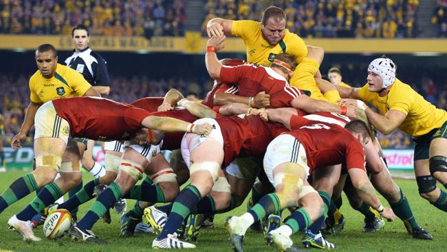 Australian Wallabies prop Ben Alexander pops out of the scrum again the British and Irish Lions in the second rugby Test match. Picture: AFP