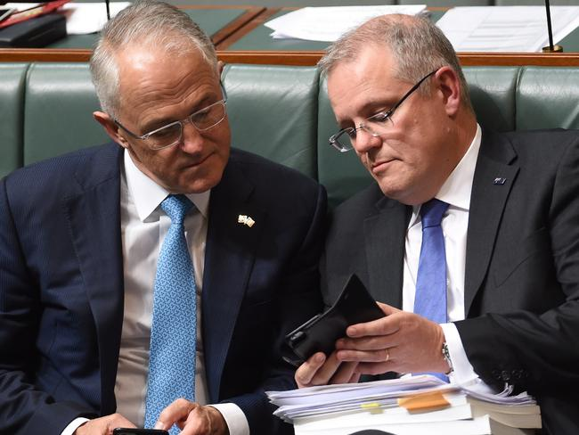 The Prime Minister and his Treasurer. Picture: Lukas Coch/AAP