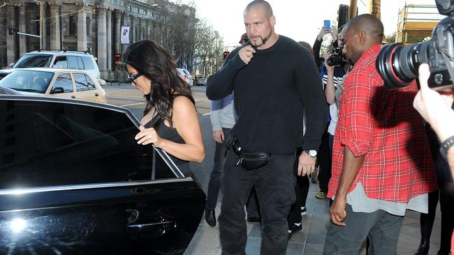 Kim Kardashian and Kanye West leave Jamie's Italian restaurant on King William Street. Photo Naomi Jellicoe