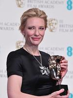 """Australian actress Cate Blanchett poses with the award for a leading actress for her work on the film """"Blue Jasmine"""" at the BAFTA British Academy Film Awards at the Royal Opera House in London on February 16, 2014. Picture: AFP"""