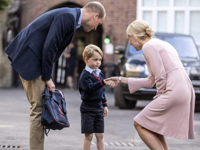 Prince George arrives for his first day of school at Thomas's school in Battersea. AFP / Richard Pohle