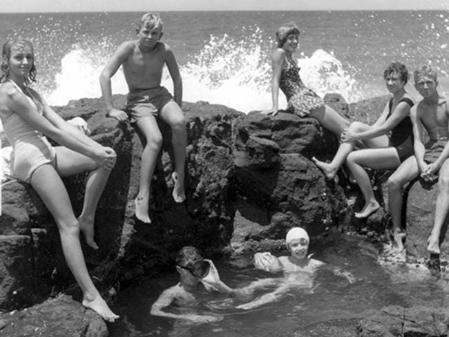 Young holiday makers at the Memorial Pools, Coolum Beach, December 1952. Picture: Visit Sunshine Coast
