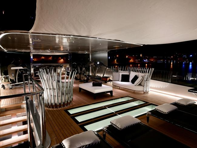 These beautiful sun beds look like they could easily turn into cocktail lounges. Picture: Burgess Yachts