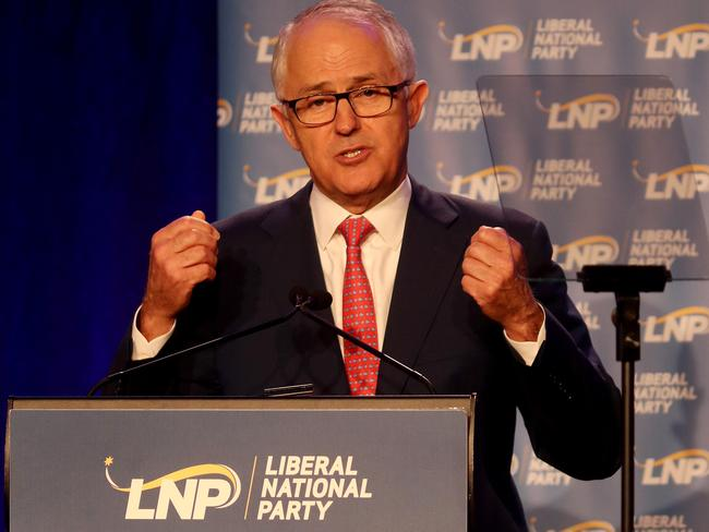 The future is coal-powered, Prime Minister Malcolm Turnbull told the party faithful. Pics Tara Croser.