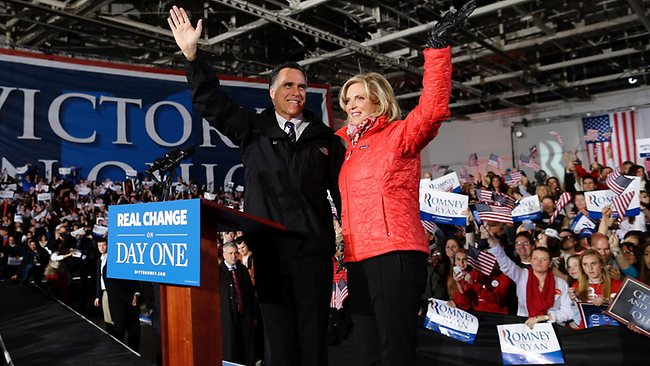 Republican presidential candidate and former Massachusetts Governor Mitt Romney and Ann Romney arrive at a Ohio campaign rally. Picture: AP/Charles Dharapak