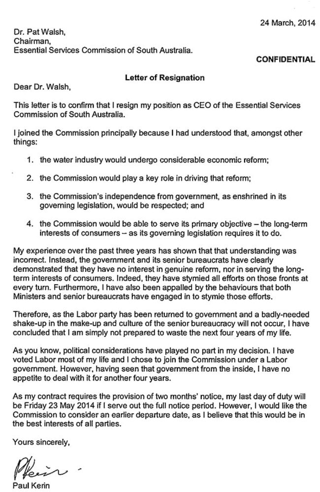 Essential Services Commission of SA chief executive Paul Kerin – Resignation Letter Australia