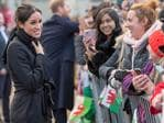 Prince Harry and fiance Meghan Markle during a walkabout at Cardiff Castle on January 18, 2018 in Cardiff, Wales. Picture: Getty