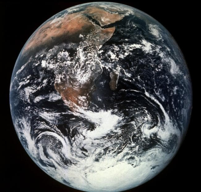 A view of Earth photographed by Schmitt had photographed Earth with Antarctica covering the bottom, hovering over the tip of Africa from Apollo 17 spacecraft.