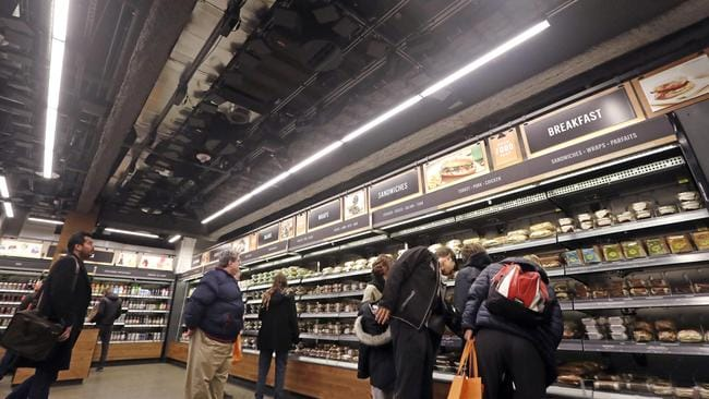 Amazon Go sells ready-to-eat meals and grocery staples. Picture: Elaine Thompson/AP Photo