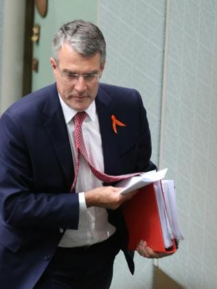 Mark Dreyfus storms out after being ejected from the chamber today. Picture: Gary Ramage