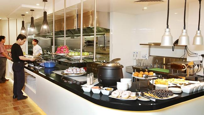 The kitchen and servery at the Four Points by Sheraton in Brisbane's CBD. PIC: Tim Marsde