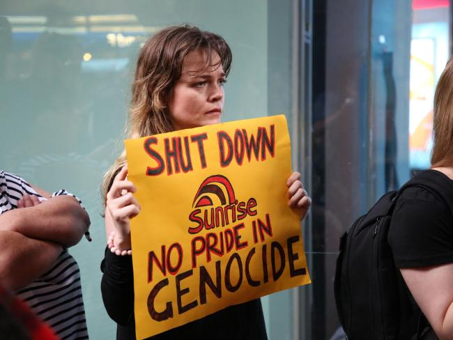A protest held outside Sunrise in Sydney earlier this month. Photo: Richard Milnes / Mega