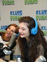 "Lorde with co-host Danielle Monaro at ""The Elvis Duran Z100 Morning Show"" at Z100 Studio in New York City. Picture: Getty"
