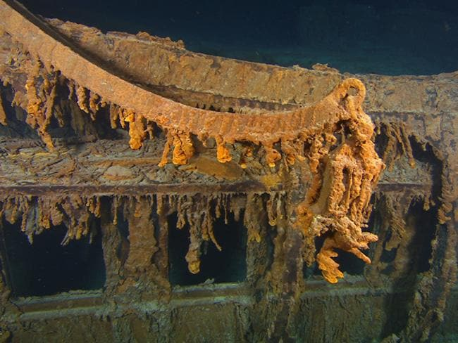 This photo taken in August 2010 the last davit remaining on the wreck of RMS Titanic. These lifeboat cranes were used to hoist the ship's wooden lifeboats over the side and into the water during Titanic's sinking.