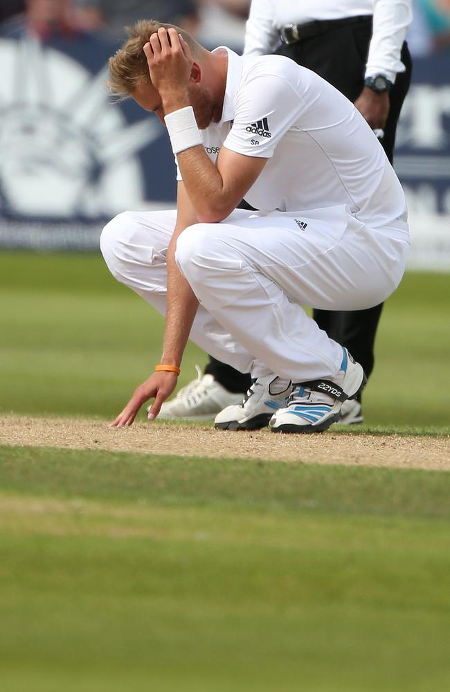 England's Stuart Broad reacts after bowling another poor ball.