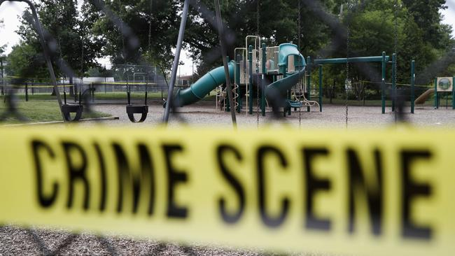 A playground near the baseball field is cordoned off with police tape. Picture: AP Photo
